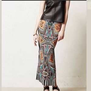 Anthropologie Maeve Maxi Skirt Tribal Print Sz XS